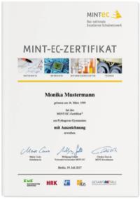 Muster eines MINT-EC-Zertifikats